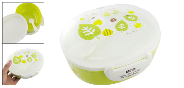 Ellipse Shaped Double Layer Portable Bento Lunch Box w. Spoon