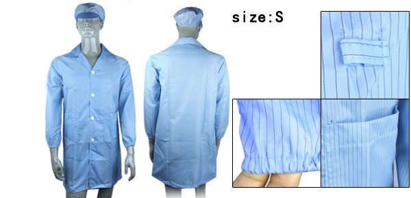 Blue Anti-static LAB Smock Coat Clothes Hat Size Small