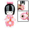 Japanese Kokeshi Wooden Doll Girl Ornament Pink Kimono
