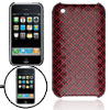 Red Coated Checked Plastic Back Case for iPhone 3G