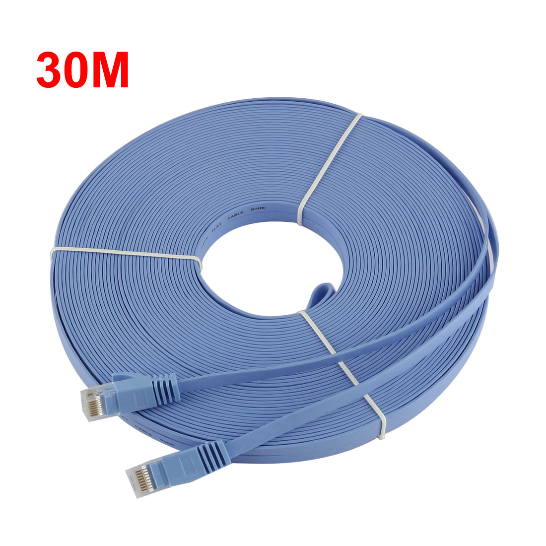 98FT-30M-CAT6-CAT-6-Flat-UTP-Ethernet-Reseau-Cable-RJ45-Patch-LAN-Cord-Bleu miniature 2