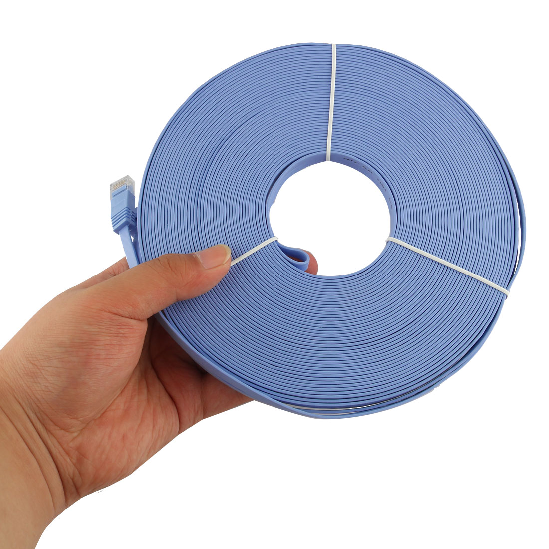 98FT-30M-CAT6-CAT-6-Flat-UTP-Ethernet-Reseau-Cable-RJ45-Patch-LAN-Cord-Bleu miniature 4