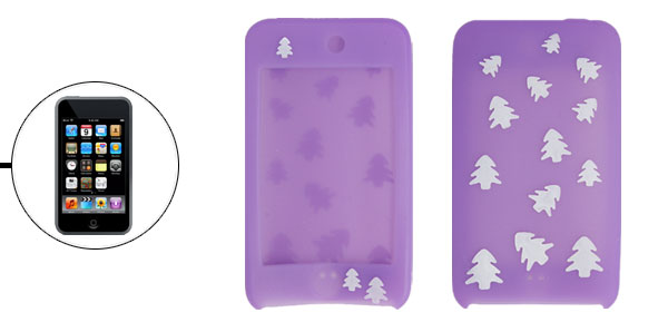 Xmas Tree Print Purple Silicone Case for iPod Touch II