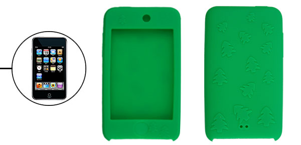 Green Silicone Case for iPod Touch II w Christmas Tree Design