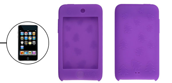 Purple Silicon Case for iPod Touch II w Christmas Tree Design