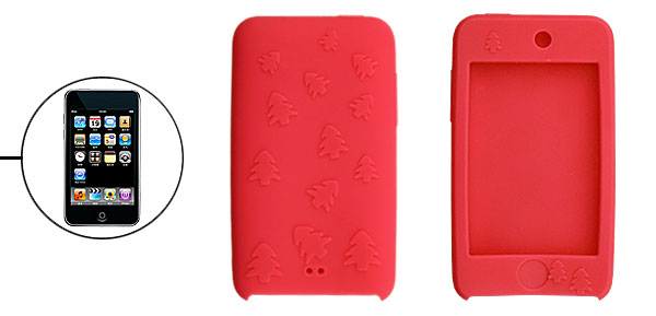 Red Silicon Case Cover for iPod Touch II with Xmas Tree Design