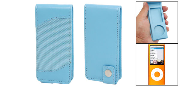 Sky Blue Faux Leather Protective Case for iPod Nano 4G