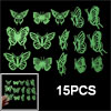 Fluorescent Luminous Stickers Butterfly Shaped 15PCS
