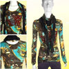 Women Scoop Neck Multi-Color Long Sleeve Top Sleeve w Scarf