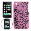 Back Florals Print Plastic Case for iPhone 3G Pink