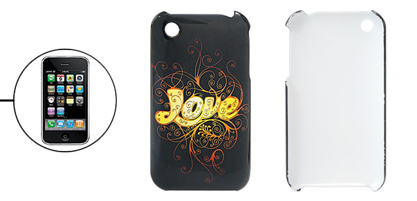 Love Character Print Plastic Case for iPhone 3G Black