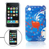 Heart Print Blue Hard Plastic Back Case Cover for iPhone 3G
