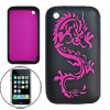 Cut Dragon Pattern Silicone Skin Case Black for Apple iPhone 3G