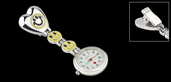 Yellow Smile Face Heart Chain Pocket Quartz Watch for Ladies