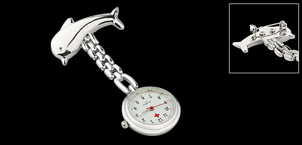 Silver Tone Dolphin Chain Pocket Quartz Watch for Ladies