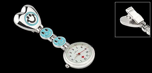 Blue Smile Face Silver Tone Heart Chain Pocket Quartz Watch