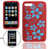 Flowered Print Red Silicone Skin Case Cover for iPod Touch 2
