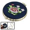 Golden Tone Frame Lady Cosmetic Mirror Navy Blue Round Shape