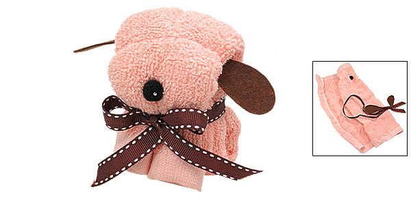 Mini Cartoon Style Puppy Shape Soft Cotton Dog Towel Pink