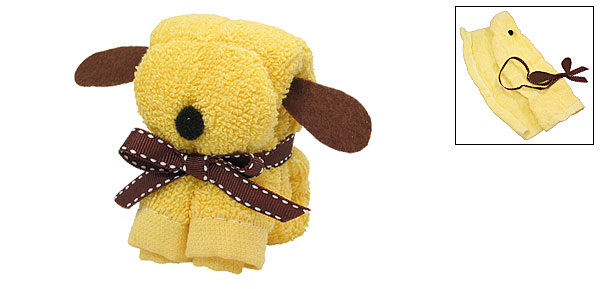 Puppy Style Yellow Quadrate Mini Soft Cotton Towel