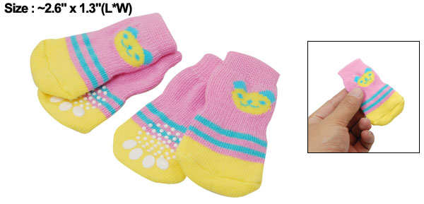 4 PCS Pet Dog Soft Yellow Pink Warm Socks w Bear Pattern