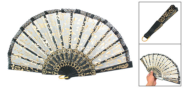 Ladies Floral Black Organza Hand Folding Fan Lace Rim