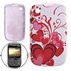 White Soft Cover Heart Plastic Case Shell for Blackberry 8520