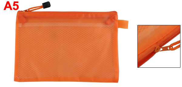 Office   Meshy Double Compartment Water Resistant Zipper Document Bag Orang