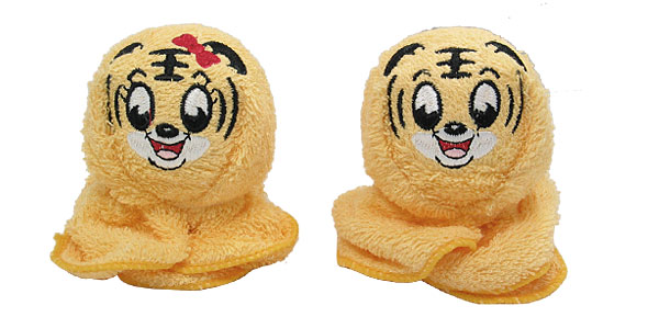 Square Yellow Soft Cotton Laughing Tiger Head Design Towel