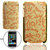 Glittery Plastic Case Pouch for Apple iPhone 3G Golden