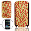 Golden Red Plastic Glittery Case Pouch for iPhone 3G