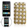 White Golden Grid Hard Plastic Case Glittery Shell for Apple iPho...