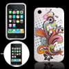 For Apple iPhone 3G Bloom Flower Soft Plastic Back Case White