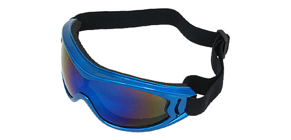 Blue Lens Plastic Frame Sports Snowboard Goggle Racing Skiing Glasses
