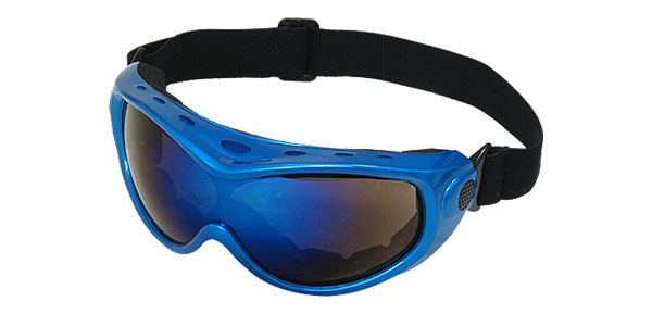 Blue Plastic Frame Skiing Snowboard Goggle Racing Sports Glasses