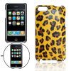 Yellow Leopard Grain Faux Leather Coated Plastic Back Case for iP...