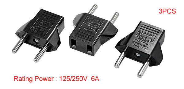 EU Plug to US Socket Travel 125V Converter Power Adapter 3 pcs