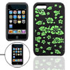 Green Flower Black Silicone Skin Case for iPod Touch 2
