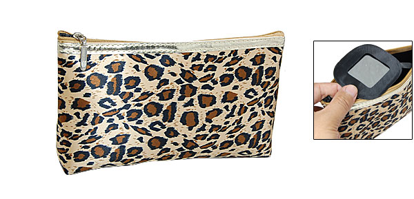 Leopard Pattern Zipper Fabric Crepe De Chine Clutch Bag