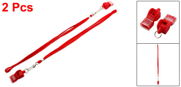 Sports Basketball Football Referee Plastic Red Whistle 2pcs