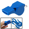Blue Plastic Take Attention Whistle Lanyard w String 2pcs