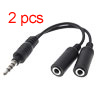 2 Sockets 3.5mm Headphone Adaper Adaptor 2pcs for 3G Phone