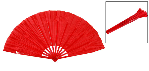 Ladies Polyester Red Cloth Hard Plastic Handle Hand Fan