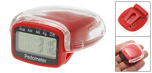 Crystal Red Clip Clock Pedometer Step Counter