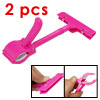 Amaranth Pink Plastic Paper Price Tag Tab Clip-on Holder 2pcs