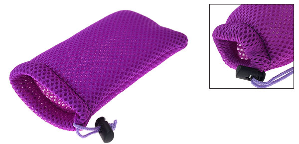 Purple Nylon Mesh Pouch Bag for Mp3 Mp4 Cell Mobile Phone