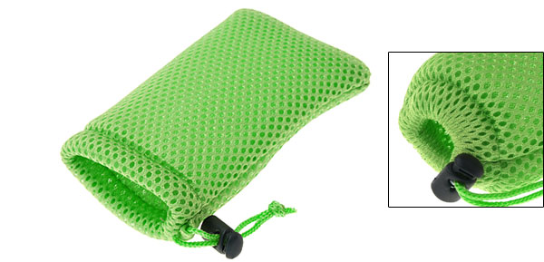 Mp3 Mp4 Green Soft Mesh Pouch Cell Mobile Phone Bag