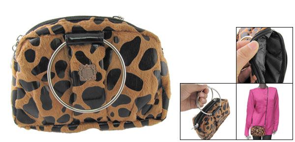 Travel Portable Brown Black Leopard Print Makeup Cosmetic Bag