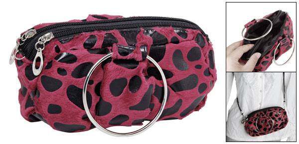 Red Black Leopard Print Makeup Cosmetic Hand Shoulder Bag