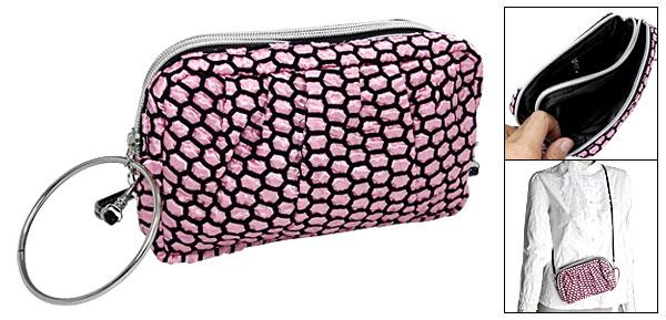 Pink Black Travel Fabric Makeup Cosmetic Hand Bag Purse
